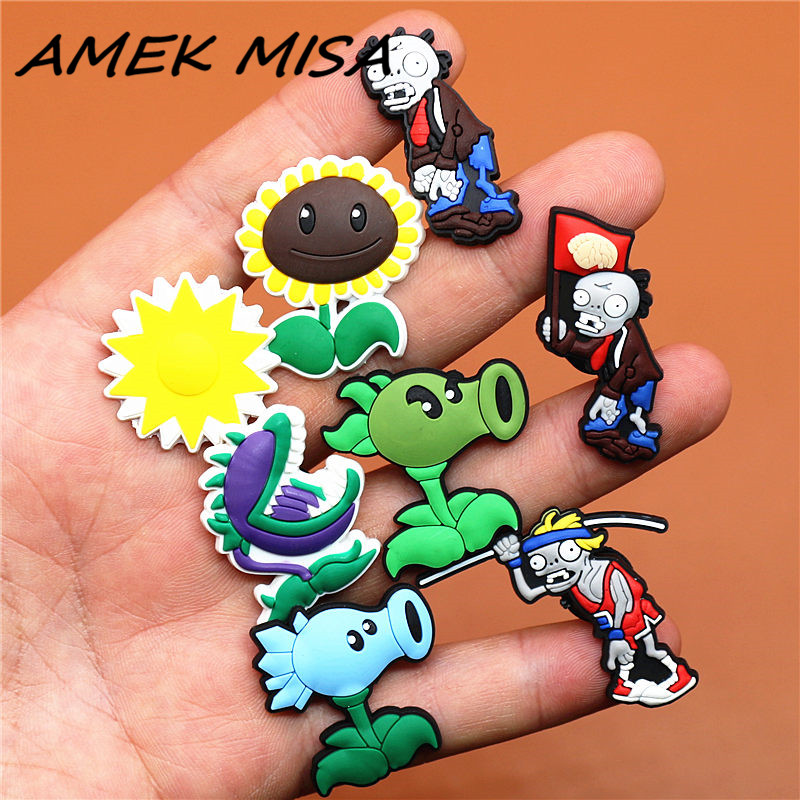1pcs PVC Cartoon Zombies Shoe Charms Accessories Plants Croc Shoe Buckle Decorations Shoe Ormaments Fit JIBZ Party Kid's Gifts