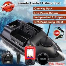 Gps inteligente retorno peixe finder rc barco de pesca cruzeiro gps posicionamento 500m indepenentt controle 3 funis tela lcd rc isca barco