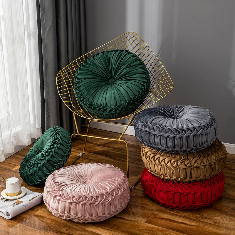 Pumpkin Wheels Seat Cushion Round Solid Red Grey Pink Green Velvet Back Cushion Large Throw Pillow For Sofa Bed Car 45*45*15CM