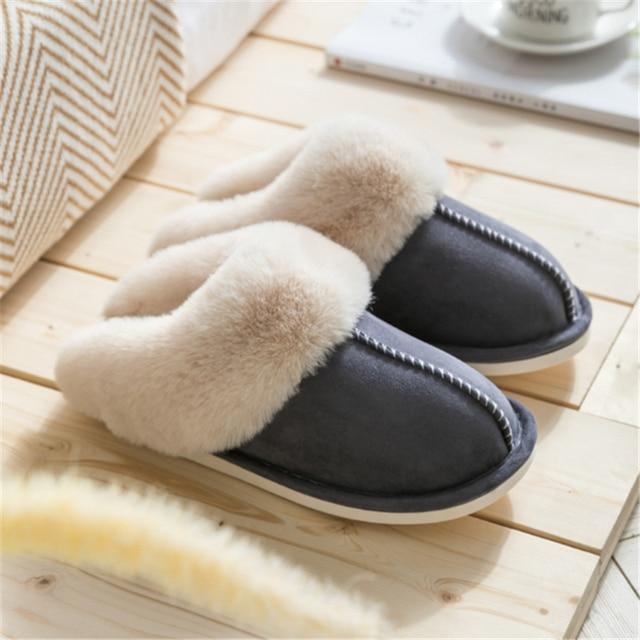JIANBUDAN Plush warm Home flat slippers Lightweight soft comfortable winter slippers Women's cotton shoes Indoor plush slippers 2