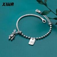 XIHA 925 Sterling Silver Bracelets Half Chain Half Beads Animal Rabbit Charm Bracelet Ladies Girl Women Oxidized Jewelry