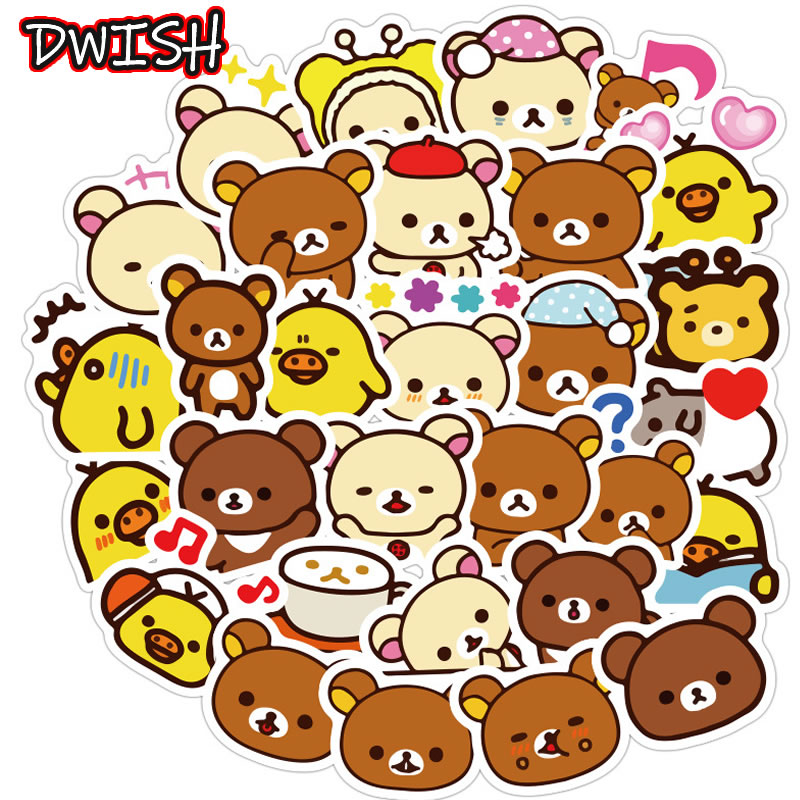40pcs/Pack Girl Cartoon Rilakkuma Waterproof Stickers Skateboard Guitar Suitcase Scrapbooking Cute Graffiti Classic Toy Sticker
