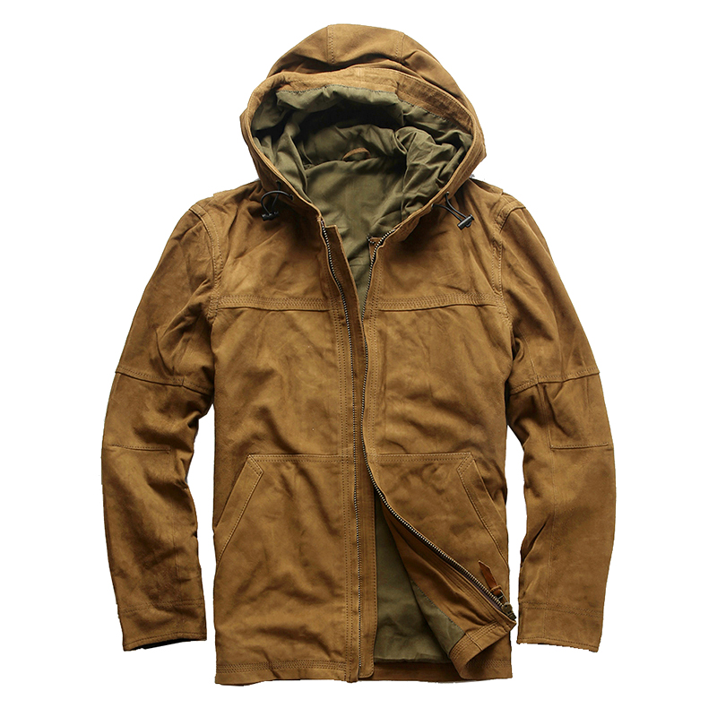 19H13 Read Description! Asian size men's sheep leather jacket mens genuine sheep leather vintage hoodie jacket