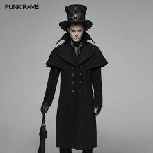PUNK RAVE Mens Gothic Dark Cloth Shoulder Cloak Detective Mystery Simp