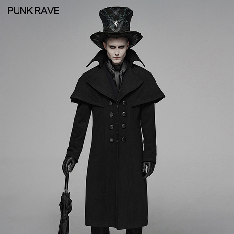 PUNK RAVE Mens Gothic Dark Cloth Shoulder Cloak Detective Mystery Simple Coat Club Stage Performance Fall Winter Mens Jackets Pakistan
