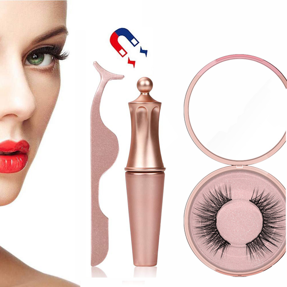 OSHIONER Magnetic False Eyelashes Set Waterproof Long Lasting Magnetic Liquid Eyeliner and Magnet Eyelash Set with Tweezers-in False Eyelashes from Beauty & Health