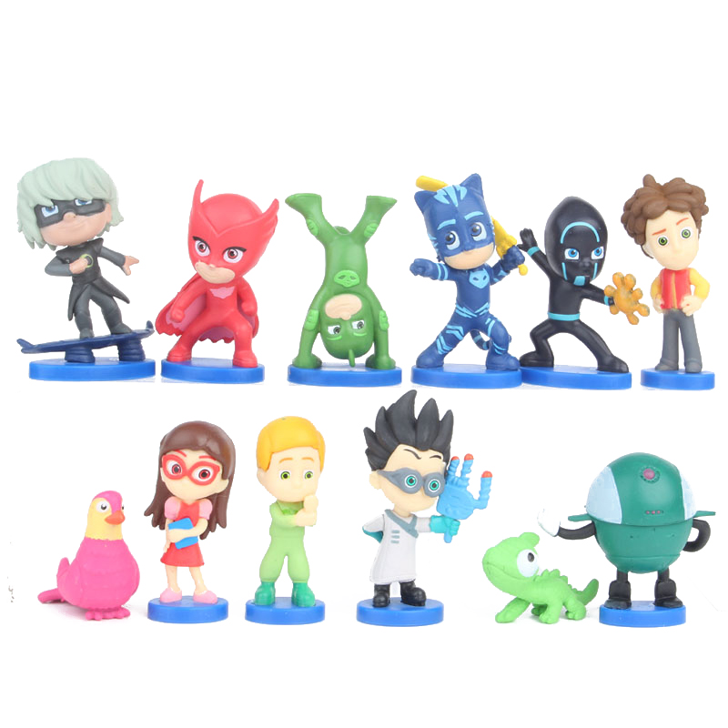 NEW Hot 12pcs/set PJ Masks Cartoon Anime Figure Toy Pj Mask Catboy Owlette Gekko Action Figure Toys For Children Gift 3-6cm S27