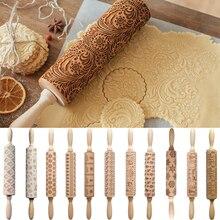 35 см дерево Рождество тиснение скалка для выпечки печенье, фондан, пирог тесто гравированные роликовые палочки выпечки Кондитерские инструменты
