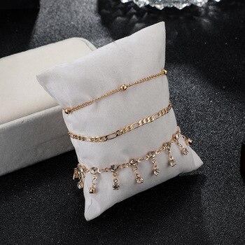 Bohemian Ankle Bracelets Set Multilayer Beads Rhinestone Tassel Pendant Charm Bracelets Women Anklet Foot Jewelry Gift 3Pcs 8