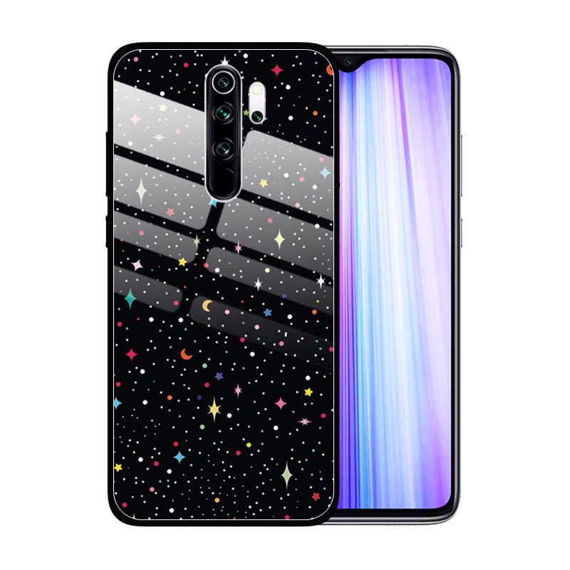 Gambar Paiting Tempered Glass Case untuk Xiaomi Redmi Note 8 Pro 8T 7 6 K20 K30 5G 8A 7A Anti Gores Shockproof Cover