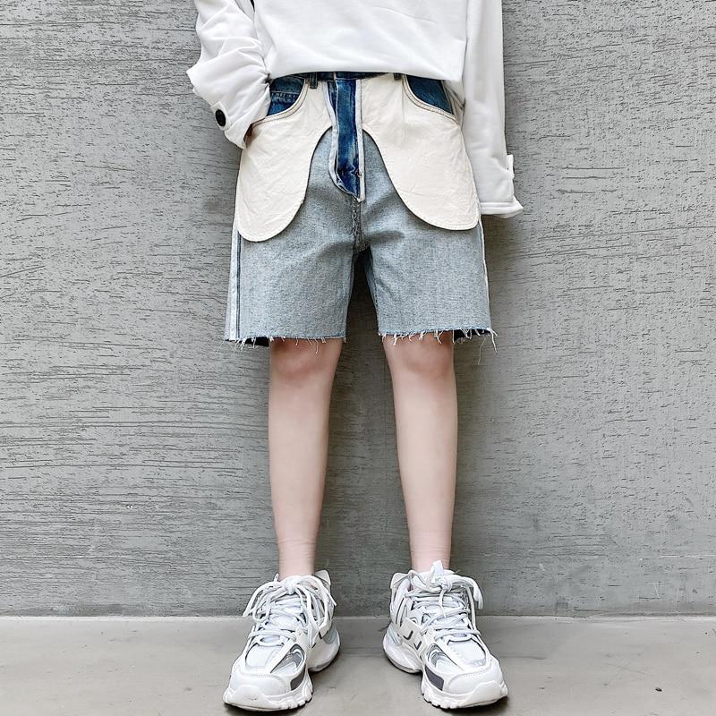 Men Summer Inside Design Knee Length Jeans Male Vintage Streetwear Hip Hop Casual Denim Pants Jeans