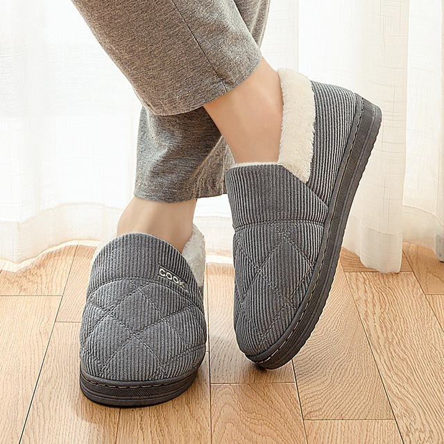 Men Shoes Casual Couple Winter Warm Slippers For Men 2019 Soft Cotton Cow House Indoor Flats Shoes Warm Home Slippers Big Size