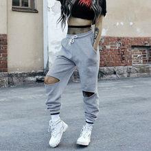 Goocheer women Fashion hip hop dance sweatpants loose Hole autumn pants trousers