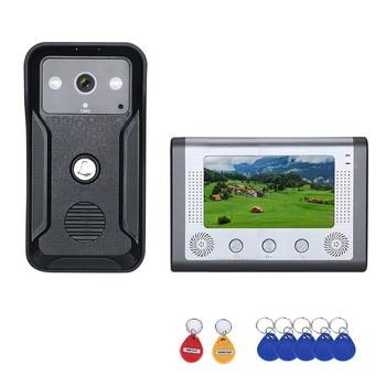 Visual Intercom Doorbell 7'' TFT Color LCD Wired Video Door Phone System Indoor Monitor 700TVL Outdoor IR Camera Support Unlockr