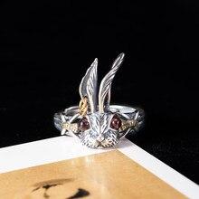Vla 925 prata retro ouro cor punk anel moda feminina personalidade longo orelha coelho anel ajustável tamanho acessórios