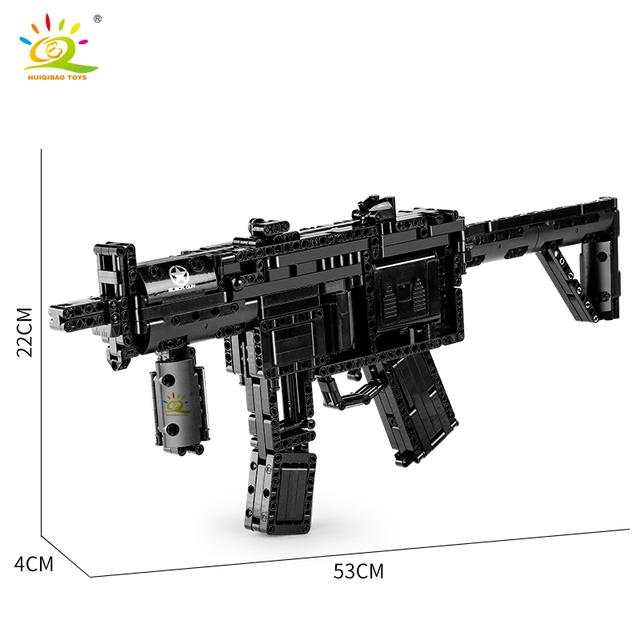 HUIQIBAO 783+PCS MP5 toy model Signal Gun Building Blocks set DIY Shooting Game Electric Technic Bricks City Toys For Children