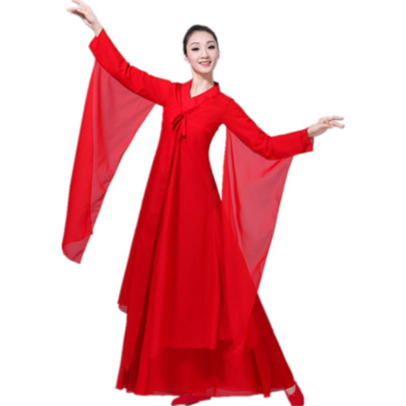 Women's Cross Collar Classical Dance Elegant And Elegant Chinese Dance Set Costume Hanfu Cool Monochrome Smooth Dance Costume