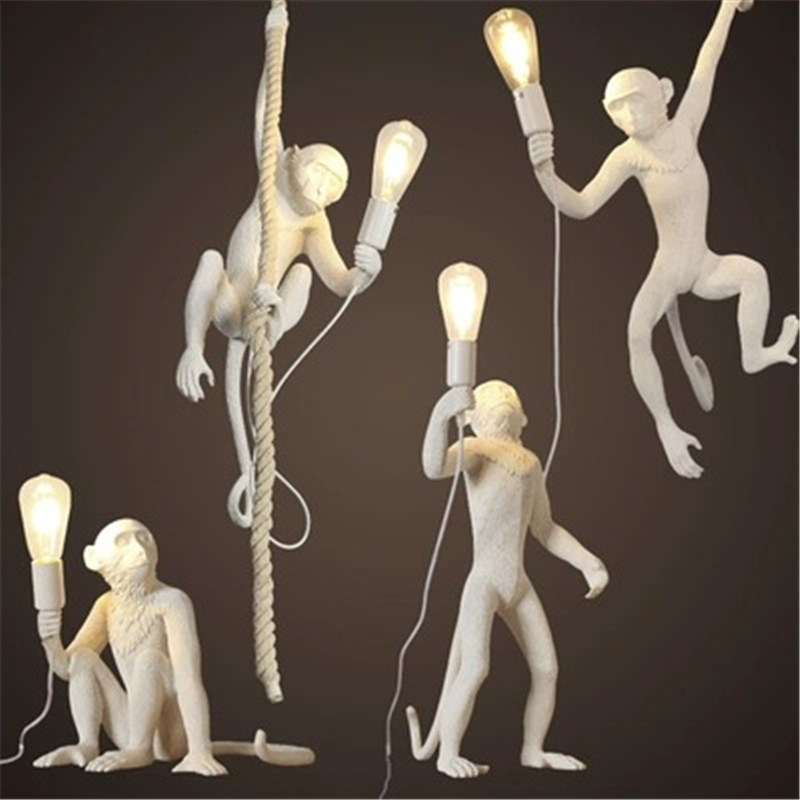 Resin Black White Gold Monkey Lamp Pendant Light Nordic Living Room Art Parlor Study Room Lustre Hanging Lamp Home Decor Fixture