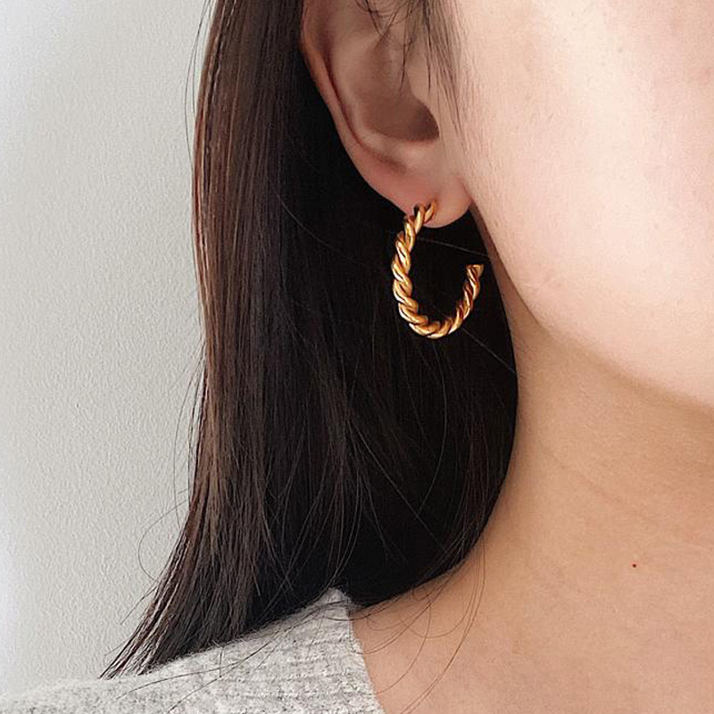 Twisted Hoops Earrings Thick Boho Chic Gold Vermeil Women Charm Earrings