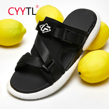 CYYTL Men Beach Sandals Outdoor Slippers Casual Summer Shoes Men Slippers Flats Shoes Fashion Lightweight Breathable Non-slip 2020 summer cool rhinestones slippers for male gold black loafers half slippers anti slip men casual shoes flats slippers wolf
