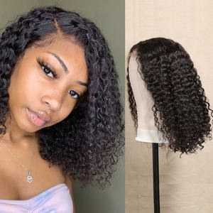 Wig Frontal Deep-Wave-Wigs Human-Hair Kinky Curly Pre-Plucked 180-Density Natural Brazilian