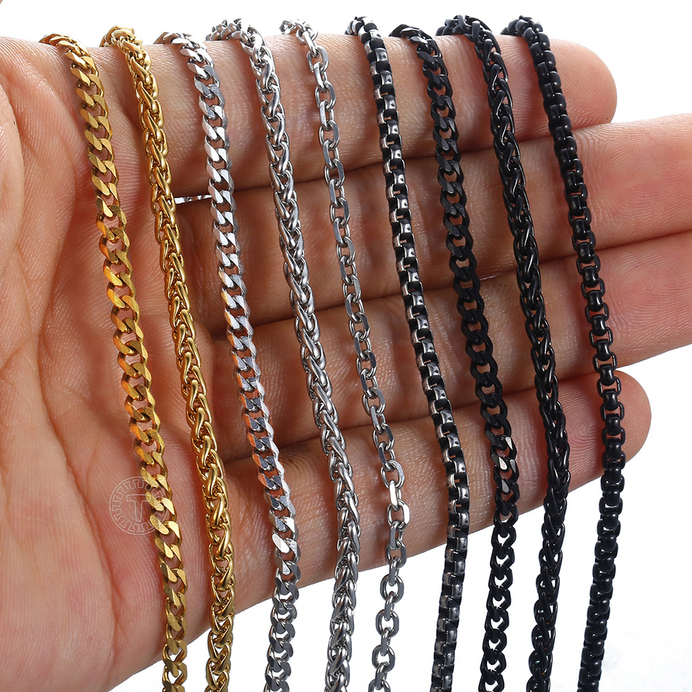 2/3mm Chain Bracelets For Women Men Black Gold Silver Color Stainless Steel Curb Cuban Cable Round Box Braided Wheat KBB13A