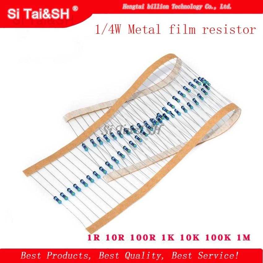 100 шт. 1/4W металлический пленочный резистор 1R ~ 1 м 100R 220R 330R 1K 1,5 K 2,2 K 3,3 K 4,7 K 10K 22K 47K 100 к 100 220 330 1K5 2K2 3K3 4K7 ом