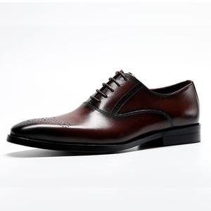 Image 4 - Men Genuine Cow Leather Brogue Wedding Business Mens Casual Flats Shoes 2020 Black Burgundy Vintage Oxford Shoes For Mens Shoe