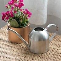 Aço inoxidável chaleira de rega interior casa meaty vasos plantas rega pode semi-circular boca longa gotejamento pote 1000ml