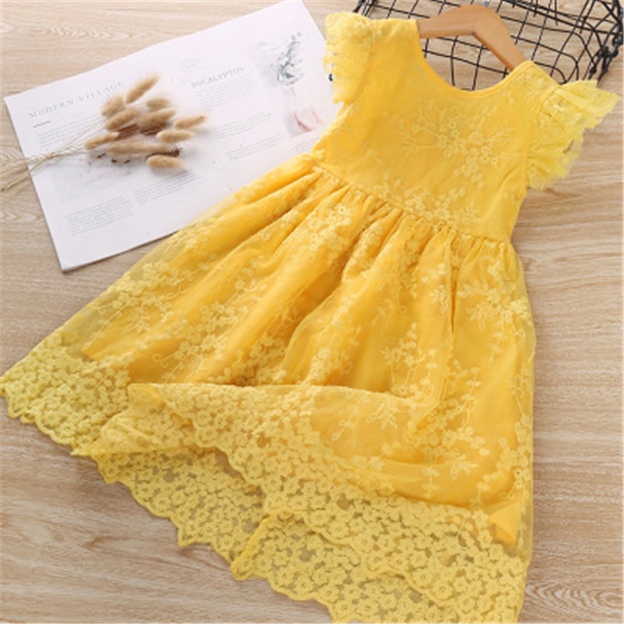 Summer Dress Vestidos Princess Girl Clothes Kids Dresses Vestido Baby Printing Gauze Party Clothing Short Sleeve Yellow Children