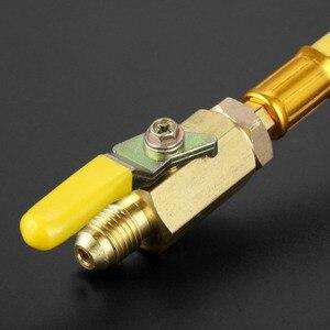 """Image 5 - 9.8 """"1/4"""" SAE R134A R410a mosiądz AC czynnik chłodniczy HVAC AC węże do ładowania z kulowymi zaworami odcinającymi 250mm 600Psi"""