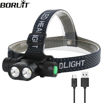 BORUiT Dual XM-L2 LED Mini Headlamp High Power7-Mode 3000LM Headlight Type-C Rechargeable 18650 Head Torch for Camping Hunting boruit brand 1000lm 3w l2 led headlight mini white light head lamp flashlight outdoor sport headlamp for camping fishing hunting