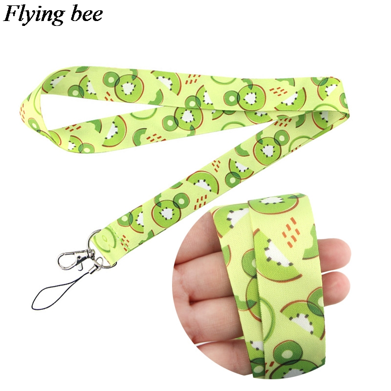 Flyingbee Kiwi Fruit Keychain Cartoon Fruit Phone Lanyard Women Fashion Strap Neck Lanyards For ID Card Phone Keys X0649