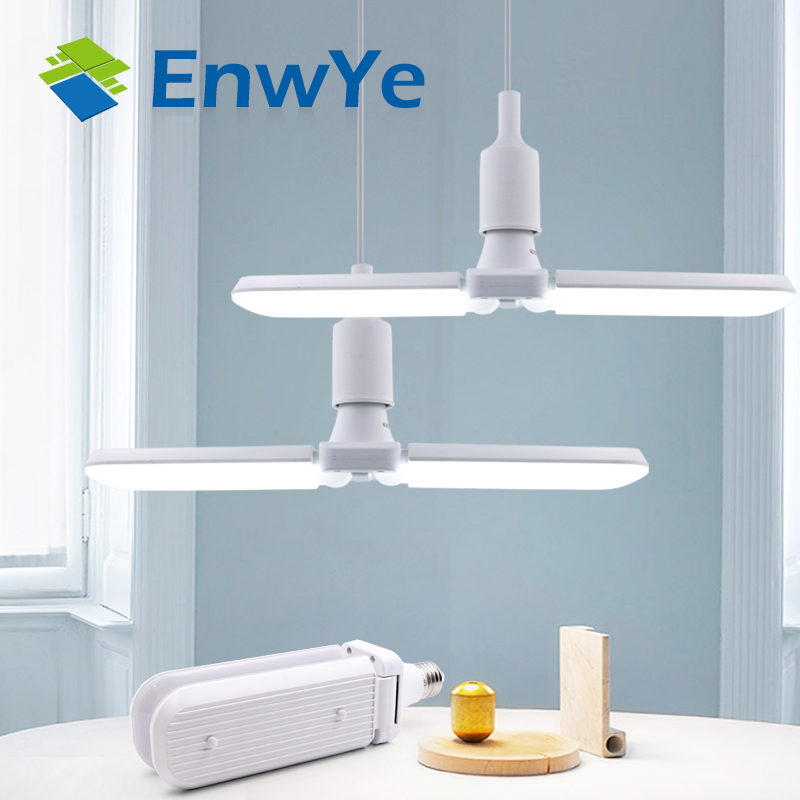 EnwYe 30W 45W 60W Led Folding Lamp AC 110V 220V Super Bright Adjustable Angle Bulb E27 LED Light
