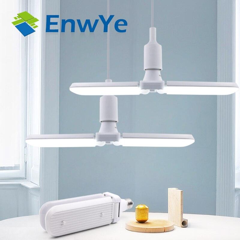 Enwye 30 w 45 60 w led dobrável lâmpada ac 110 v 220 v super brilhante ângulo ajustável e27 conduziu a luz