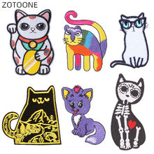 ZOTOONE – Patch chat dessin animé pour vêtements, Badge Animal tête de mort, sac à dos, autocollants brodés DIY bricolage, couture sur application D
