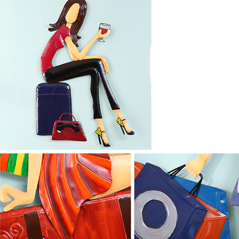Roogo скандинавские сны Девушка настенное украшение для дома аксессуары 3D настенное искусство полимерная для домашнего декора для декора гос... - 5
