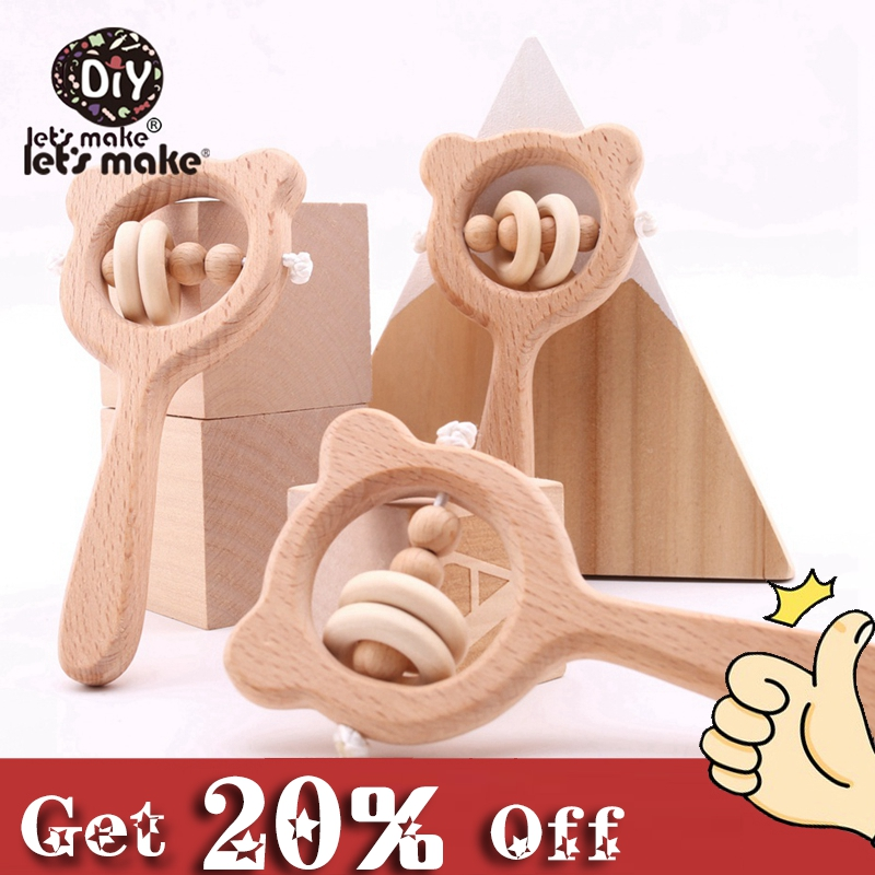 Let's Make Wooden Rattle 1pc Beech Bear Hand Teething Wooden Ring Baby Rattles Play Gym Montessori Toy Stroller Educational Toys