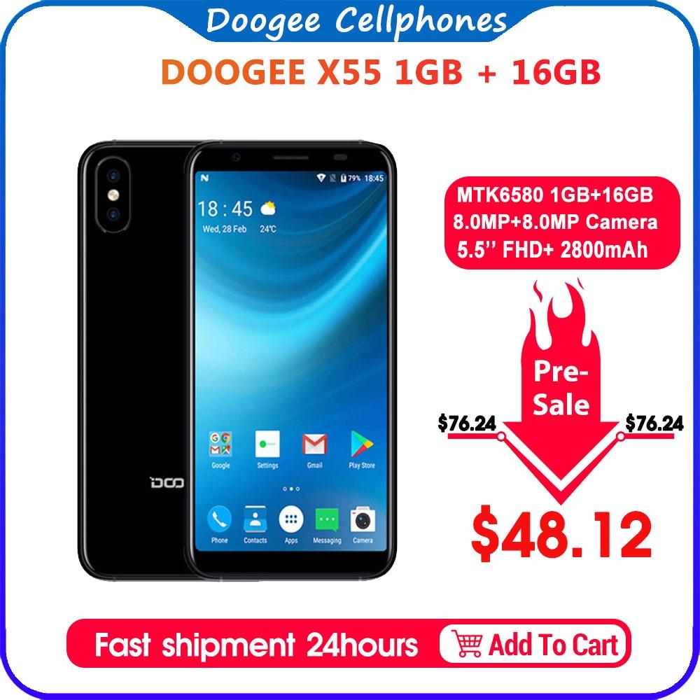 2018 New DOOGEE X55 Smartphone 5.5'' 18:9 HD MTK6580 Quad Core 16GB ROM Dual Camera 8.0MP Android 7.0 2800mAh Side Fingerprint
