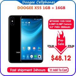 2018 yeni DOOGEE X55 Smartphone 5.5 ''18:9 HD MTK6580 dört çekirdekli 16GB ROM çift kamera 8.0MP Android 7.0 2800mAh yan parmak izi