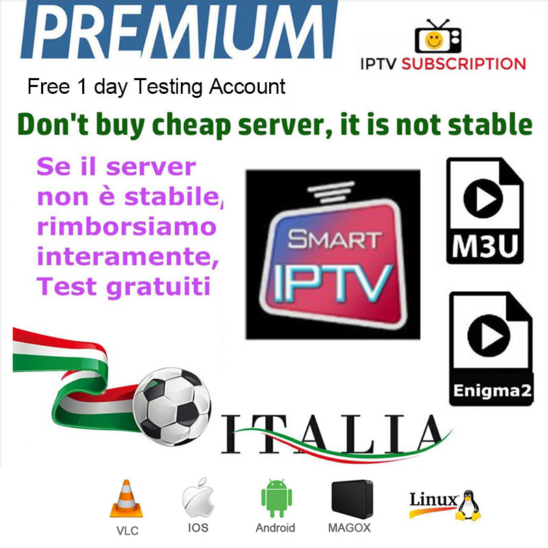 Europe IPTV Subscription Hd Arabic USA Canadian Italian Russian African Latino India Enigma2 Android Box Smart M3U Free Test