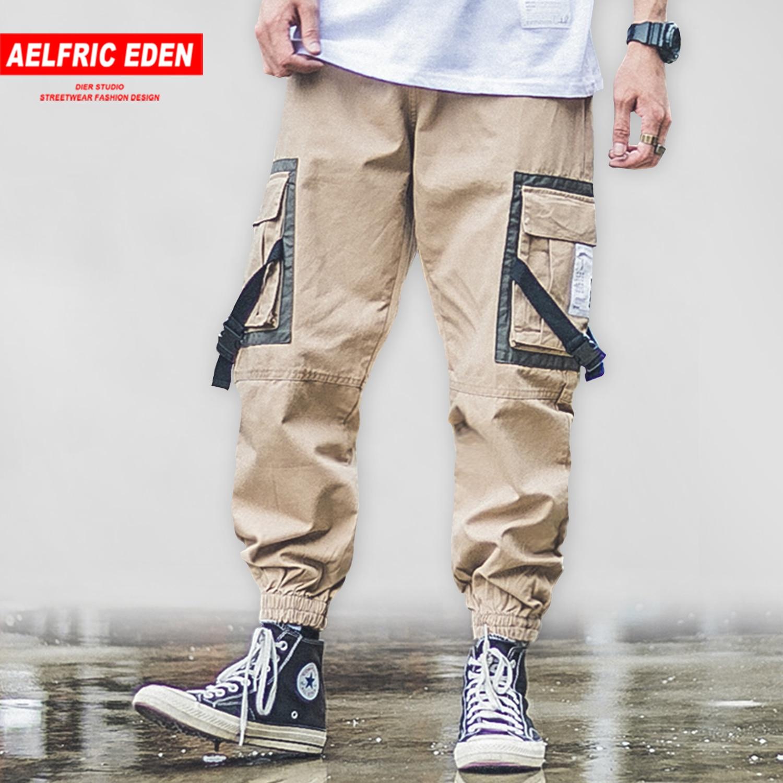 Aelfric Eden Patchwork Big Pockets Ribbons Mens Harem Cargo Pants 2019 Harajuku Hip Hop Casual Joggers Male Trousers Streetwear