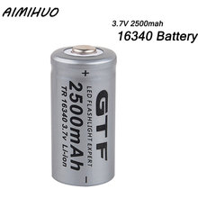 16340 3.7V 2500mah Battery CR123A Lithium Li-ion Rechargeable Batteries Batteria for Laser Pen LED Flashlight Cell