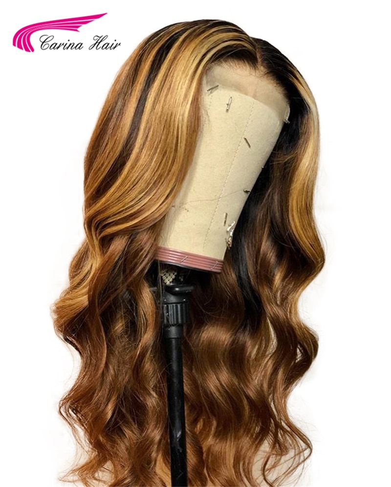 Carina Brazilian Lace Front Human Hair Wigs 13*3 With Baby Hair Pre Plucked For Women Remy Hair Ombre Colored Wavy Wig