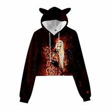 Girls Kawaii Ava Max Cat Ears Hoodie OMG Ava Max Sweatshirts Women Crop Tops Pullovers Casual Clothing Style Oversized Hoody