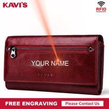 KAVIS Freies Gravur Echtem Leder Frauen Brieftasche und Geldbörse Weibliche Geldbörse Portomonee Klemme Für Geld Tasche Zipper Handliche Perse