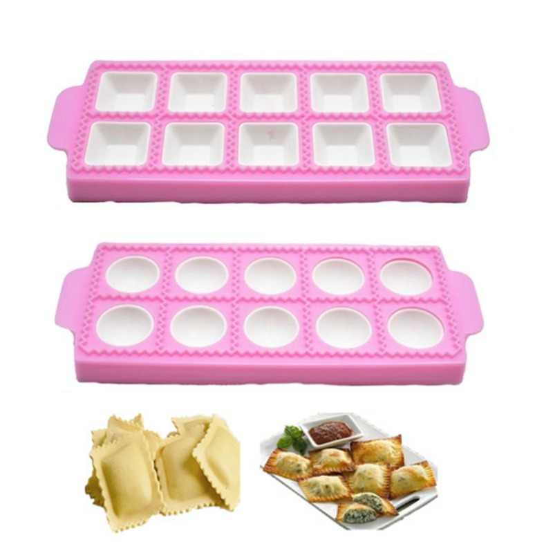 Ravioli Maker Mold DIY Italian Raviolis Mold Plastic Dumplings Ravioli Tray and Press Practical Ravioli cutter Round