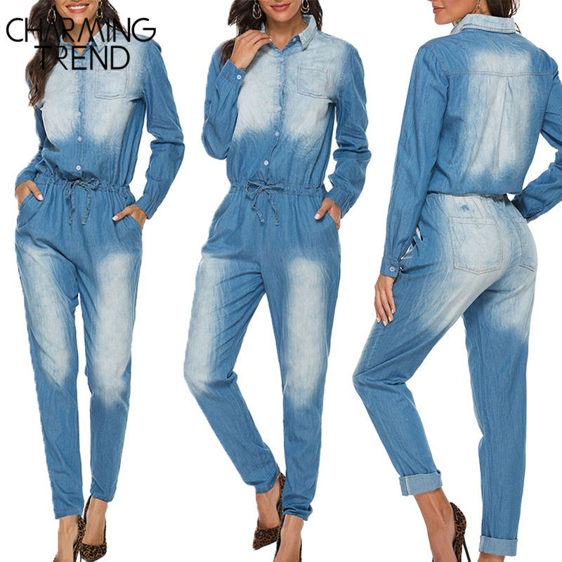 Charmingtrend Women's Denim Jumpsuits Jeans 2020 Spring Summer Long Sleeve Trousers Stand Collar Rompers Pants Female Bodysuits