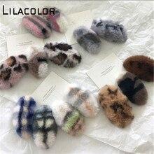 Lilacolor Korea Plush Cute Faux Fur Leopard Hair Clip Women Accessories Triangle Barrettes Girls Fashion Hairpin Headwear