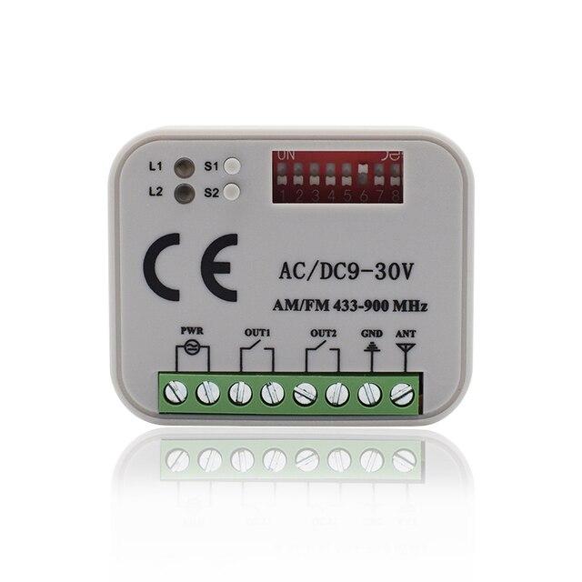 Garage gate remote receiver 300 900MHZ AC/DC 9 30V remote switch for 433mhz 300 315 330 390 868 mhz door command transmitter